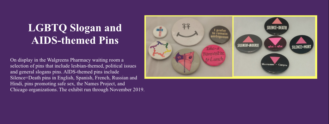 Slogan and AIDS-themed Pins
